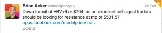 Tweet sent October 26, 2012